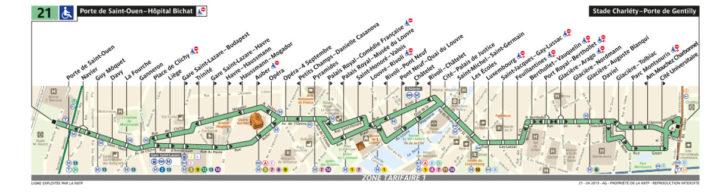 パリ バス 21番線