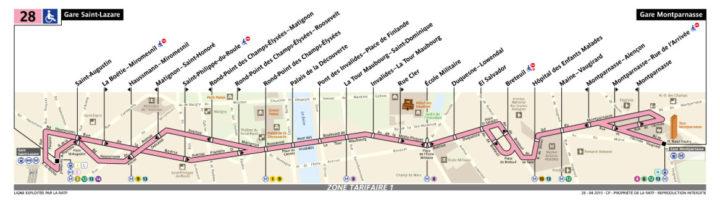 パリ バス 28番線
