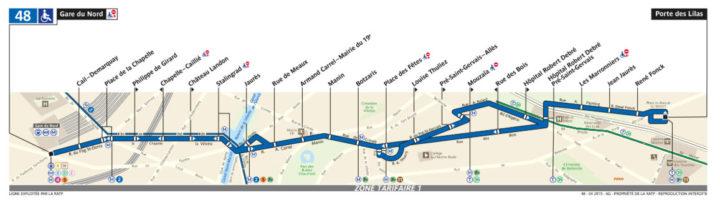 パリ バス 48番線
