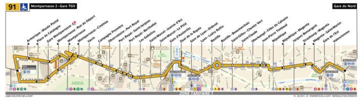 パリ バス 91番線