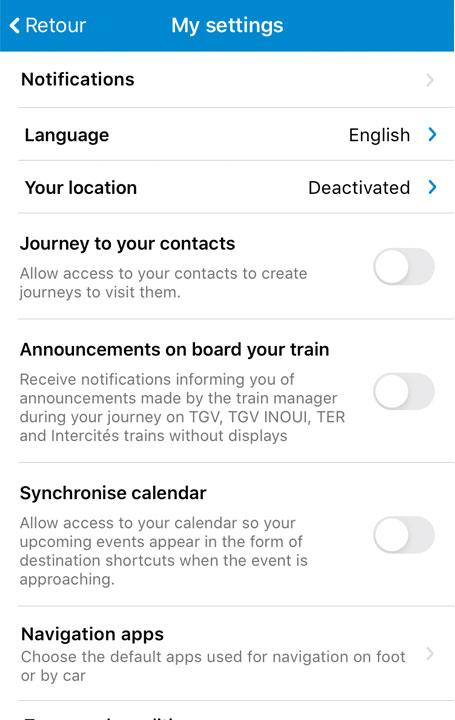 SNCF アプリ