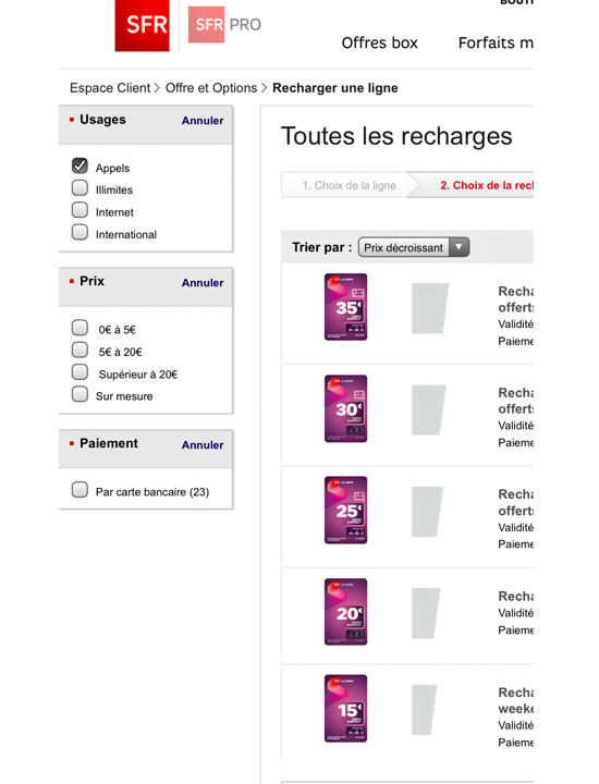 SFR LA CARTE CONNECT top up