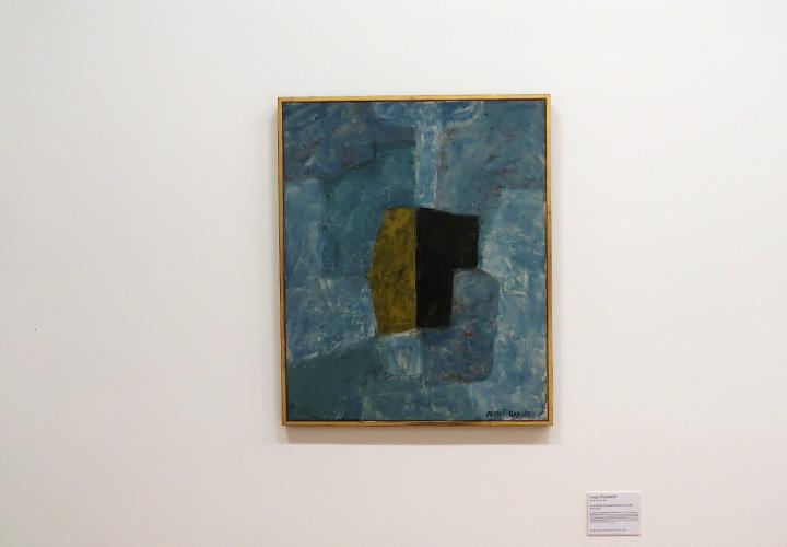 composition abstraite bleue et jaune