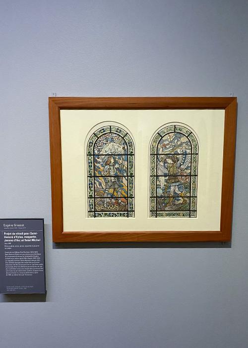 Projet de vitrail pour Saint-Honoré d'Eylau, maquette: Jeanne-d'Arc et Saint-MIchel