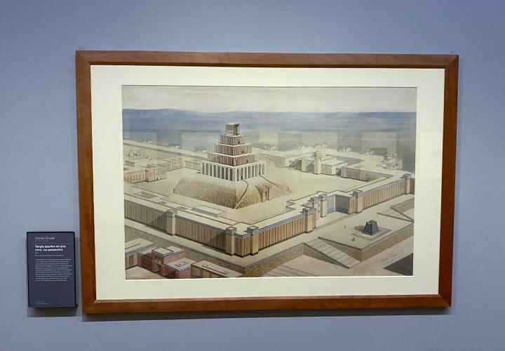 Restauration des tours à étages de l'Assyrie. Vue perspective d'une tour de troisième type : temple assyrien sur plan carré