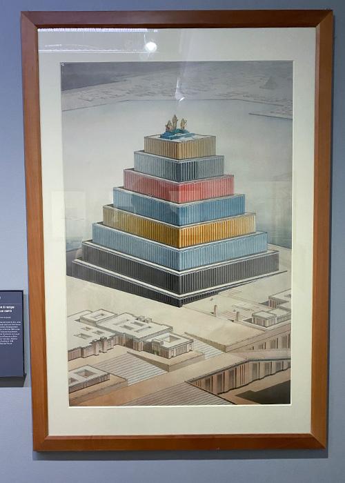 Restauration des tours à étages de l'Assyrie. Vue perspective d'une tour de deuxième type : temple chaldéen à rampe unique et sur plan carré