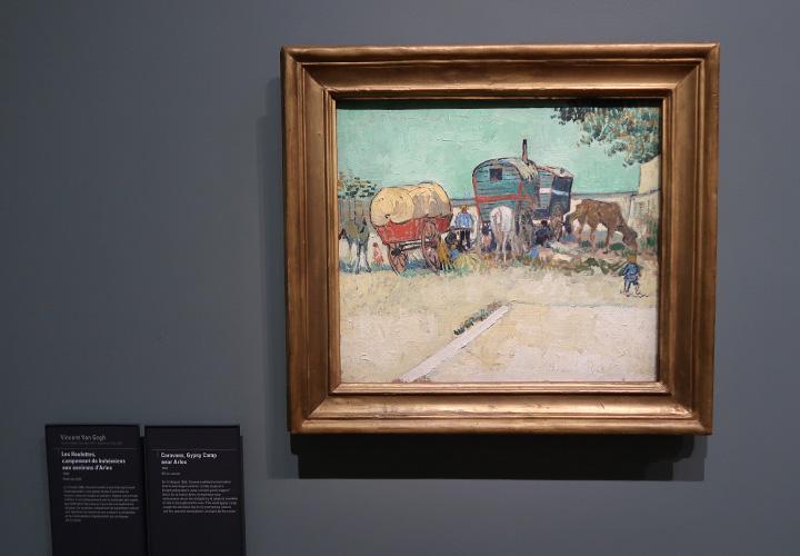 Les roulottes, campement de bohémiens aux environs d'Arles